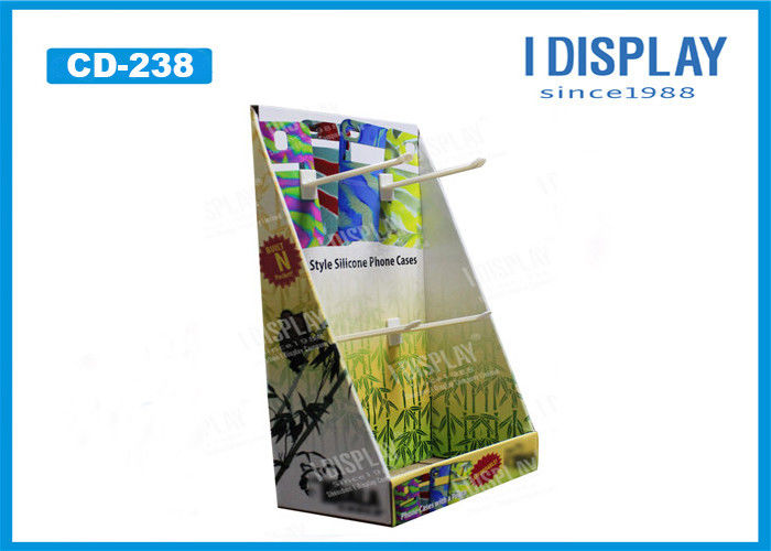 Phone Case Paper / Cardboard Counter Display With Plastic Hooks