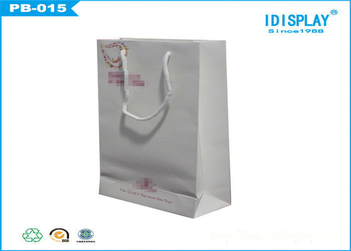 White Jewelry Gift Bags , Large Printed Paper Bags UV Coating